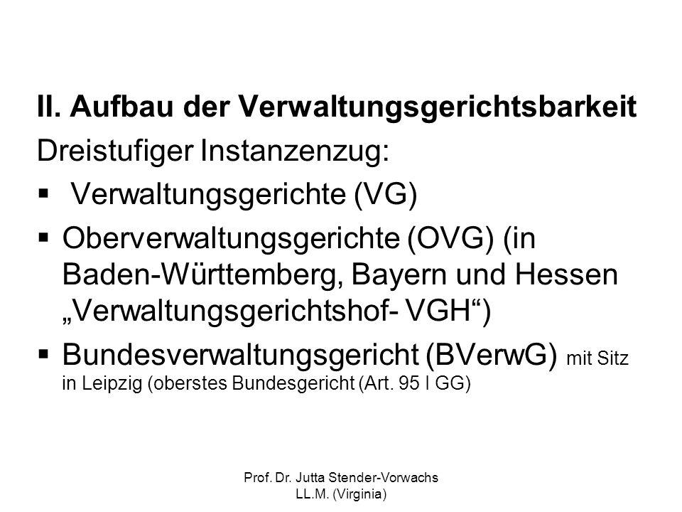 Prof. Dr. Jutta Stender-Vorwachs LL.M. (Virginia) II. Aufbau der Verwaltungsgerichtsbarkeit Dreistufiger Instanzenzug: Verwaltungsgerichte (VG) Oberve