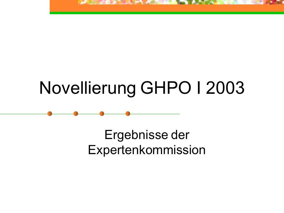 Novellierung GHPO I 2003 Ergebnisse der Expertenkommission