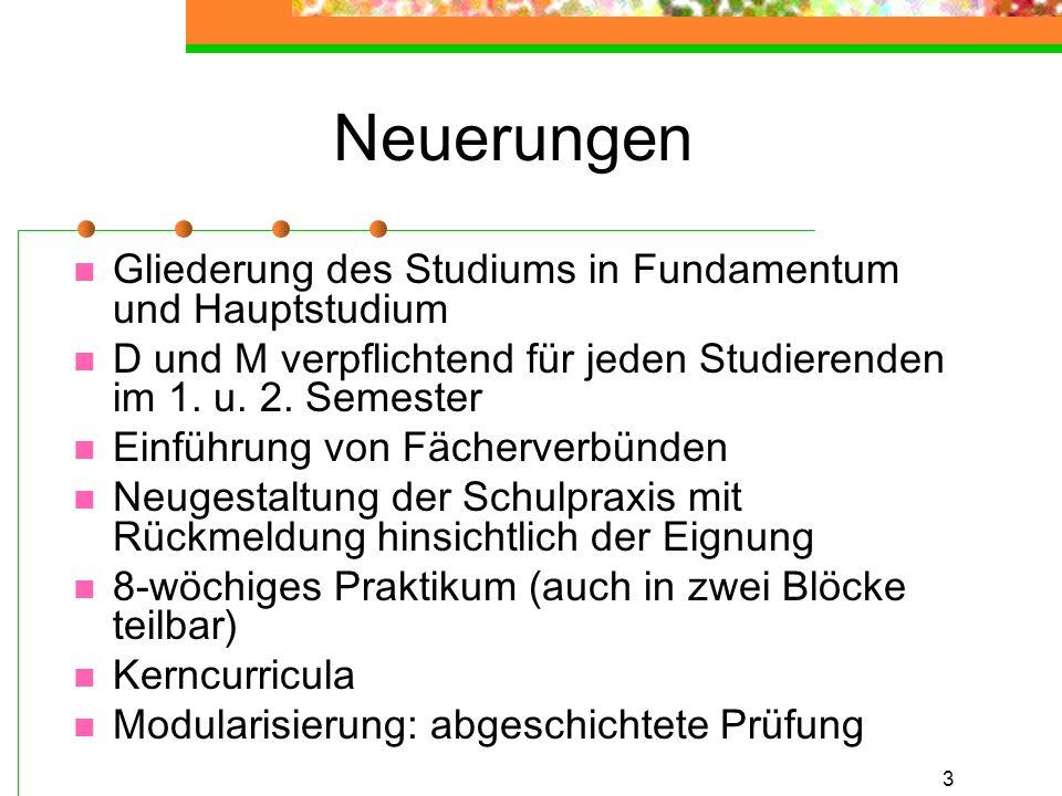 4 Äußere Differenzierung Fundamentum 1.und 2. Semester Hauptstudium 3.