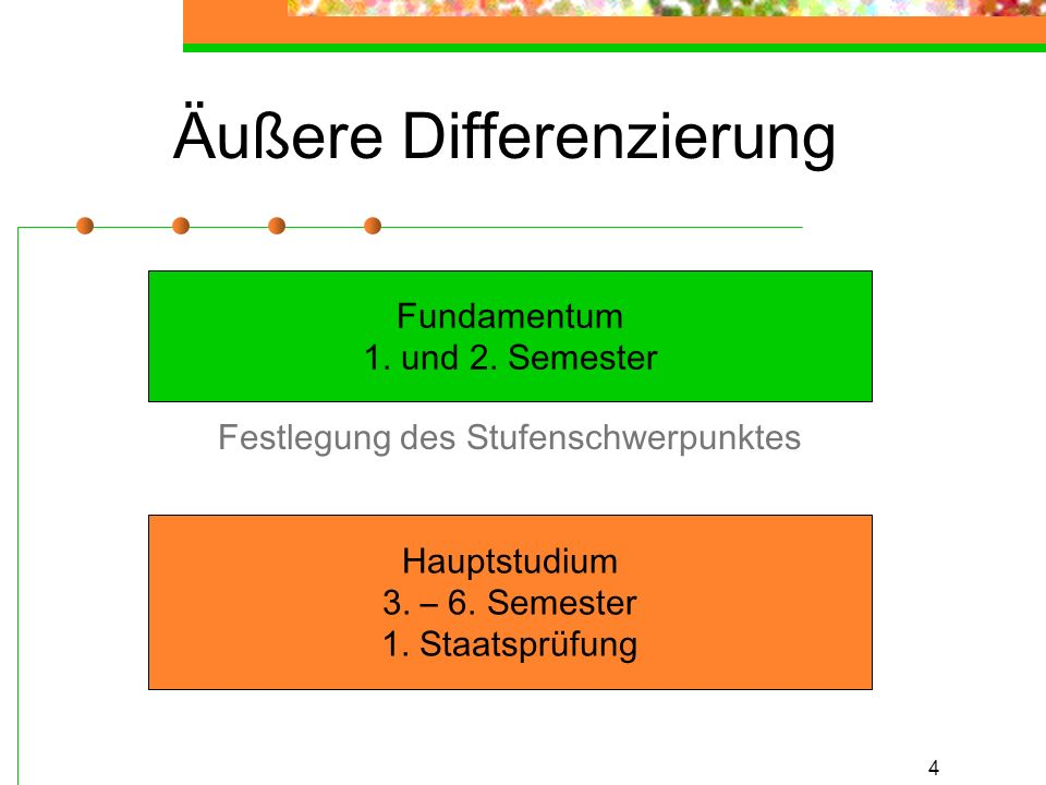 4 Äußere Differenzierung Fundamentum 1. und 2. Semester Hauptstudium 3. – 6. Semester 1. Staatsprüfung Festlegung des Stufenschwerpunktes