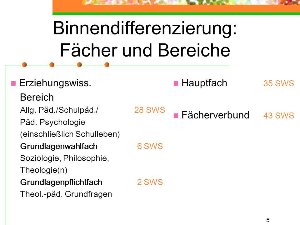 5 Binnendifferenzierung: Fächer und Bereiche Erziehungswiss. Bereich Allg. Päd./Schulpäd./ 28 SWS Päd. Psychologie (einschließlich Schulleben) Grundla
