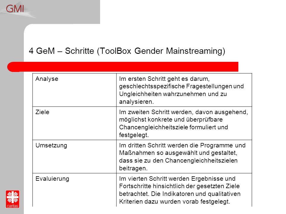 4 GeM – Schritte (ToolBox Gender Mainstreaming) AnalyseIm ersten Schritt geht es darum, geschlechtsspezifische Fragestellungen und Ungleichheiten wahr