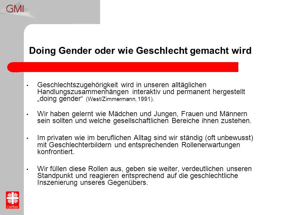 Doing Gender oder wie Geschlecht gemacht wird Geschlechtszugehörigkeit wird in unseren alltäglichen Handlungszusammenhängen interaktiv und permanent h