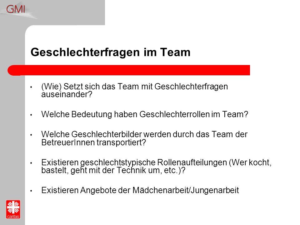 Geschlechterfragen im Team (Wie) Setzt sich das Team mit Geschlechterfragen auseinander? Welche Bedeutung haben Geschlechterrollen im Team? Welche Ges