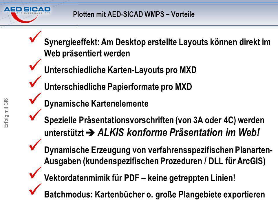 Erfolg mit GIS Synergieeffekt: Am Desktop erstellte Layouts können direkt im Web präsentiert werden Unterschiedliche Karten-Layouts pro MXD Unterschiedliche Papierformate pro MXD Dynamische Kartenelemente Spezielle Präsentationsvorschriften (von 3A oder 4C) werden unterstützt ALKIS konforme Präsentation im Web.