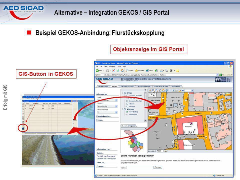 Erfolg mit GIS Beispiel GEKOS-Anbindung: Flurstückskopplung GIS-Button in GEKOS Objektanzeige im GIS Portal Alternative – Integration GEKOS / GIS Port
