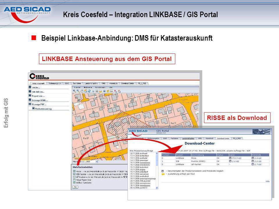 Erfolg mit GIS Beispiel Linkbase-Anbindung: DMS für Katasterauskunft LINKBASE Ansteuerung aus dem GIS Portal Kreis Coesfeld – Integration LINKBASE / GIS Portal RISSE als Download