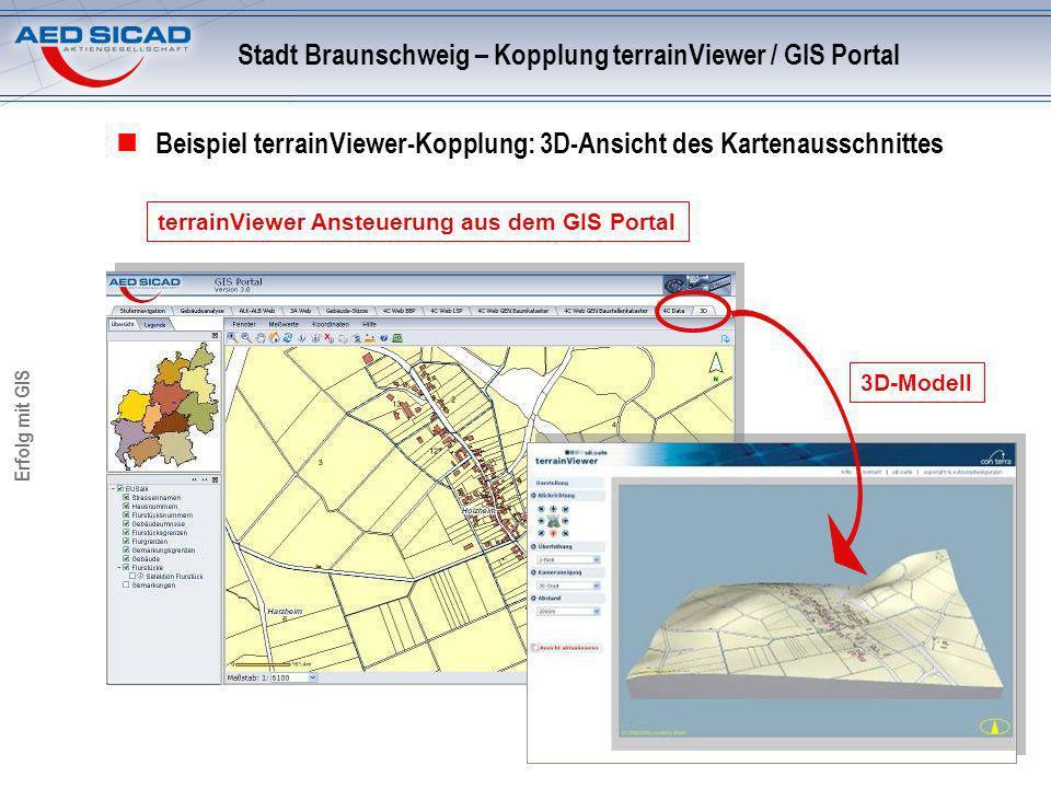 Erfolg mit GIS Beispiel terrainViewer-Kopplung: 3D-Ansicht des Kartenausschnittes terrainViewer Ansteuerung aus dem GIS Portal Stadt Braunschweig – Kopplung terrainViewer / GIS Portal 3D-Modell