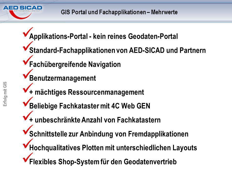 Erfolg mit GIS Applikations-Portal - kein reines Geodaten-Portal Standard-Fachapplikationen von AED-SICAD und Partnern Fachübergreifende Navigation Benutzermanagement + mächtiges Ressourcenmanagement Beliebige Fachkataster mit 4C Web GEN + unbeschränkte Anzahl von Fachkatastern Schnittstelle zur Anbindung von Fremdapplikationen Hochqualitatives Plotten mit unterschiedlichen Layouts Flexibles Shop-System für den Geodatenvertrieb GIS Portal und Fachapplikationen – Mehrwerte
