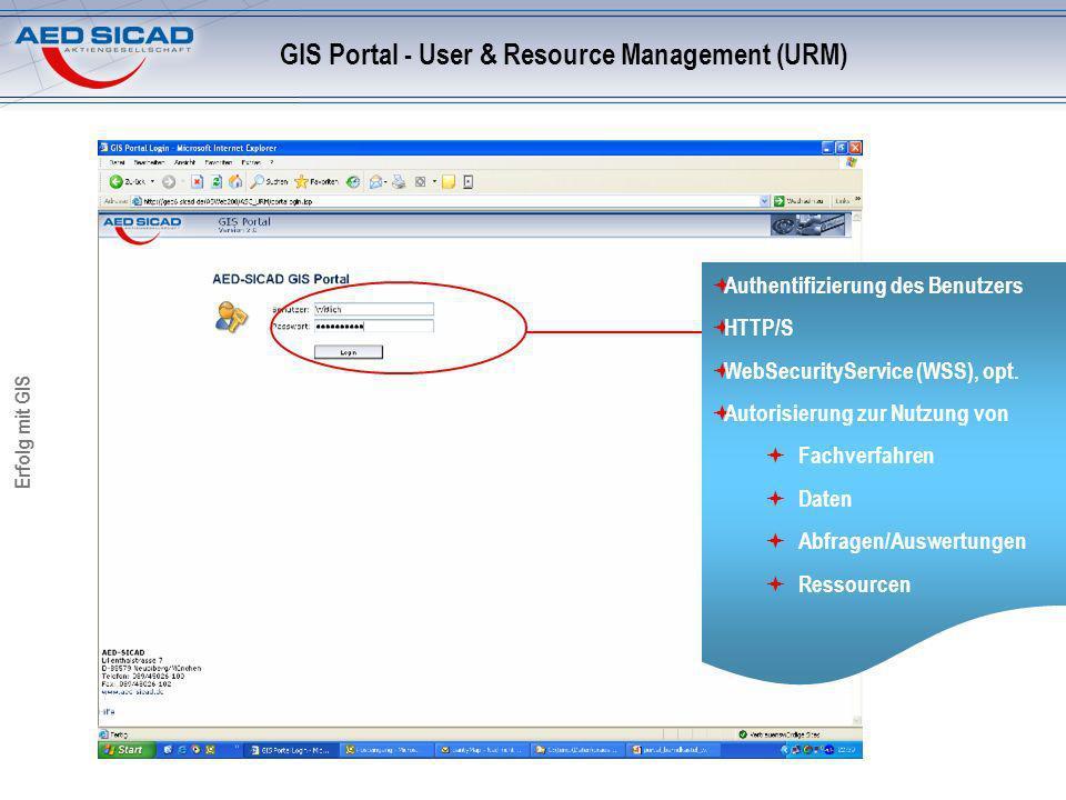 Erfolg mit GIS GIS Portal - User & Resource Management (URM) Authentifizierung des Benutzers HTTP/S WebSecurityService (WSS), opt. Autorisierung zur N