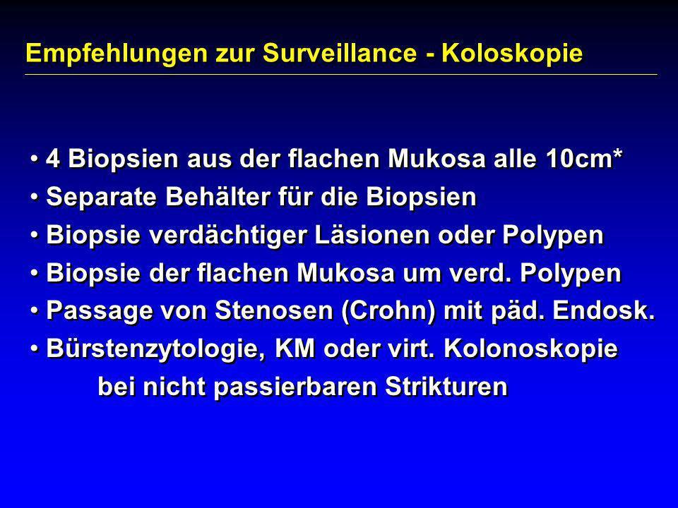 Empfehlungen zur Surveillance - Koloskopie 4 Biopsien aus der flachen Mukosa alle 10cm* Separate Behälter für die Biopsien Biopsie verdächtiger Läsion