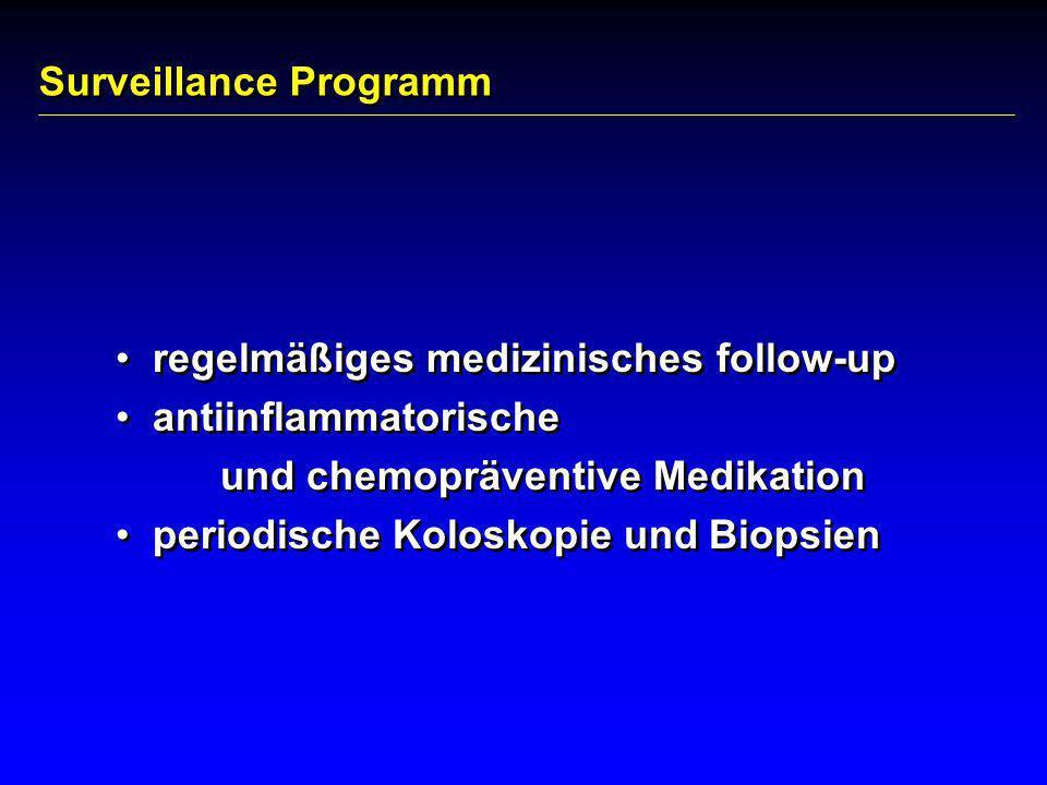 Surveillance Programm regelmäßiges medizinisches follow-up antiinflammatorische und chemopräventive Medikation periodische Koloskopie und Biopsien reg