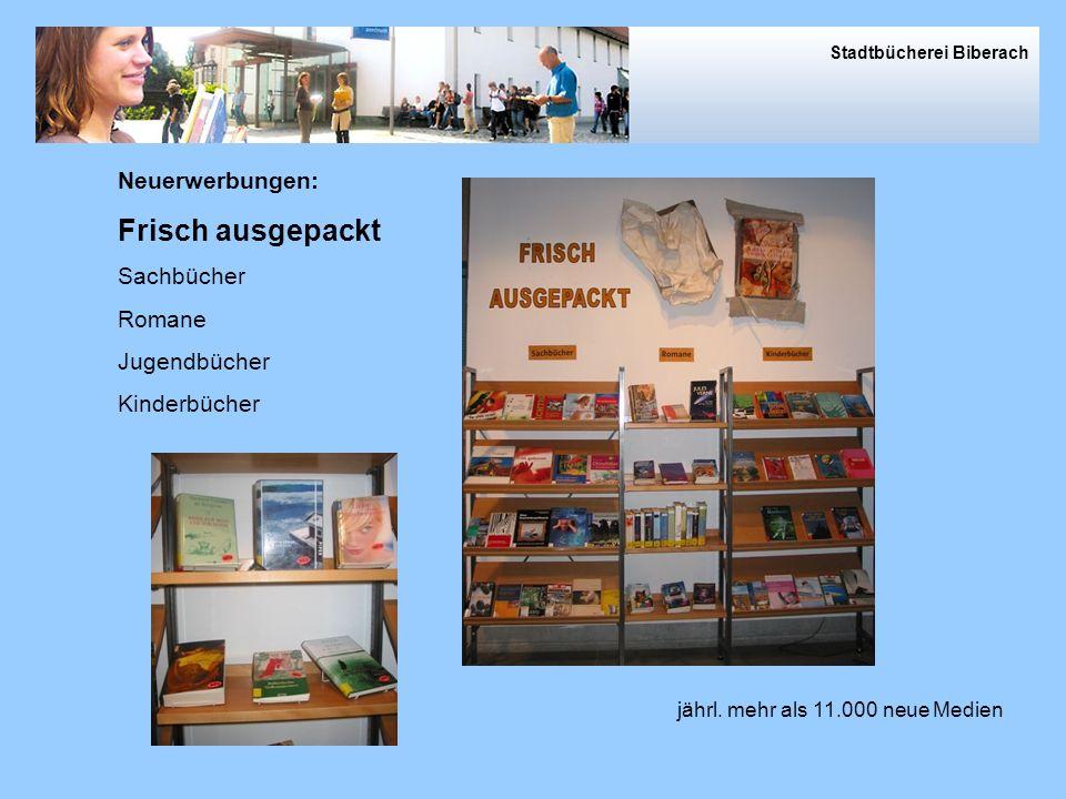 Von außen und innen und der Rückgabe Rücksortierung Stadtbücherei Biberach