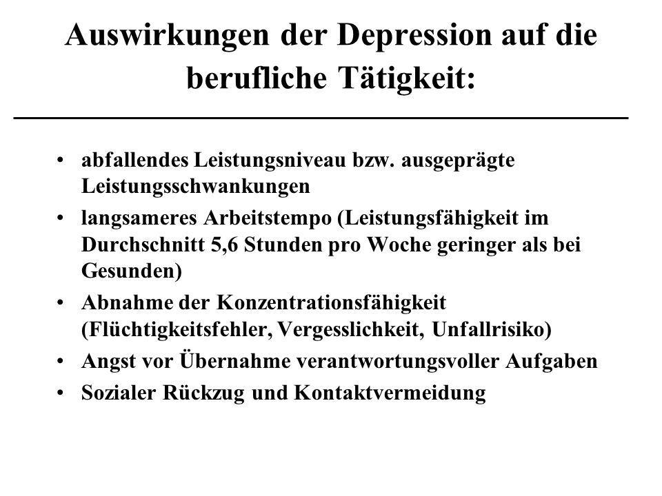 Auswirkungen der Depression auf die berufliche Tätigkeit: abfallendes Leistungsniveau bzw. ausgeprägte Leistungsschwankungen langsameres Arbeitstempo
