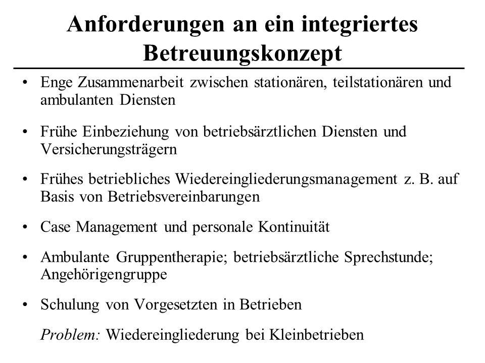 Anforderungen an ein integriertes Betreuungskonzept Enge Zusammenarbeit zwischen stationären, teilstationären und ambulanten Diensten Frühe Einbeziehu