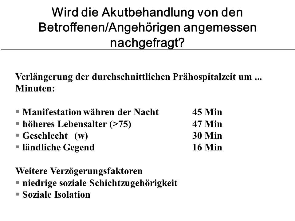 Wird die Akutbehandlung von den Betroffenen/Angehörigen angemessen nachgefragt? Verlängerung der durchschnittlichen Prähospitalzeit um... Minuten: Man