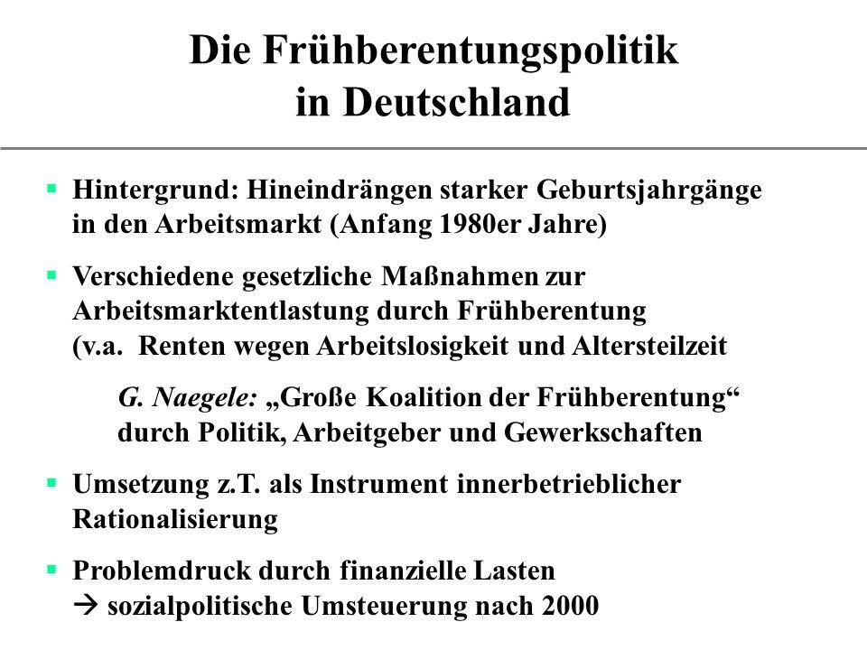 Die Frühberentungspolitik in Deutschland Hintergrund: Hineindrängen starker Geburtsjahrgänge in den Arbeitsmarkt (Anfang 1980er Jahre) Verschiedene ge