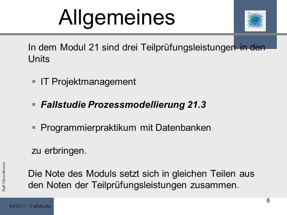 Inf (21) - Fallstudie Ralf-Oliver Mevius Allgemeines In dem Modul 21 sind drei Teilprüfungsleistungen in den Units IT Projektmanagement Fallstudie Prozessmodellierung 21.3 Programmierpraktikum mit Datenbanken zu erbringen.