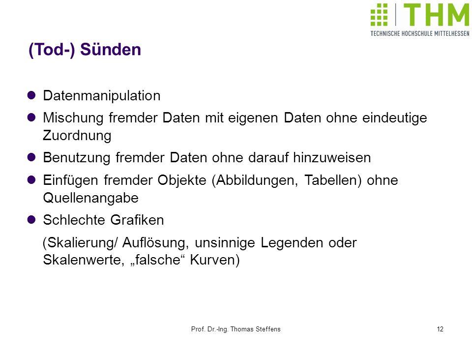 Prof. Dr.-Ing. Thomas Steffens12 (Tod-) Sünden Datenmanipulation Mischung fremder Daten mit eigenen Daten ohne eindeutige Zuordnung Benutzung fremder