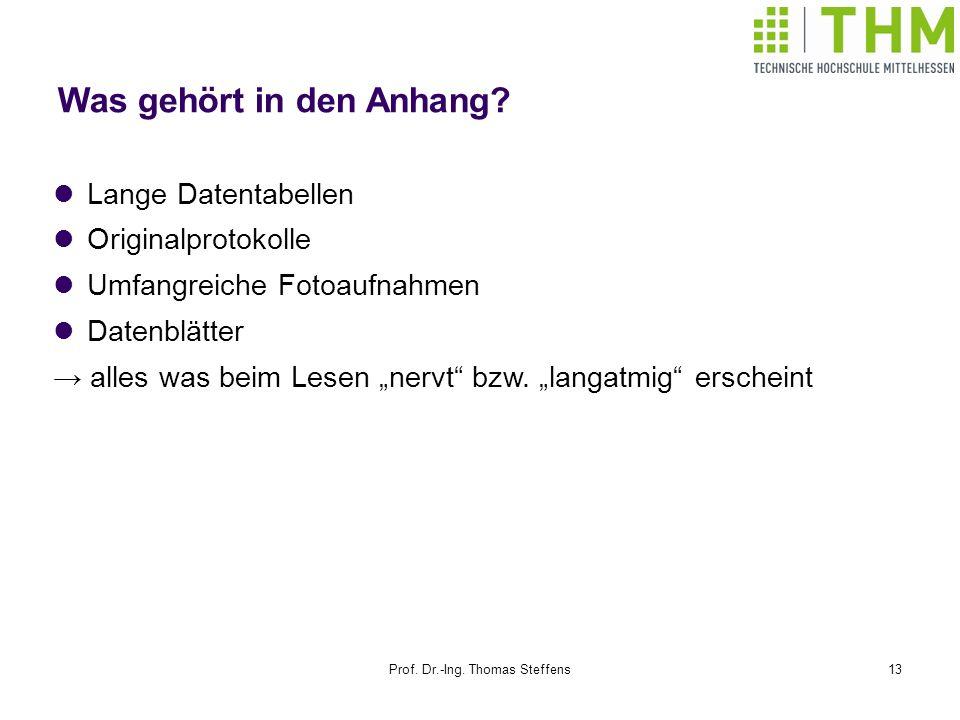 Prof. Dr.-Ing. Thomas Steffens13 Was gehört in den Anhang? Lange Datentabellen Originalprotokolle Umfangreiche Fotoaufnahmen Datenblätter alles was be