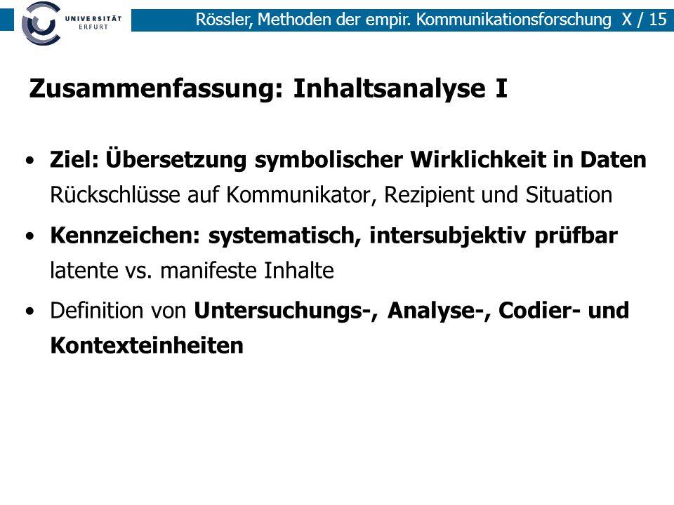 Rössler, Methoden der empir.