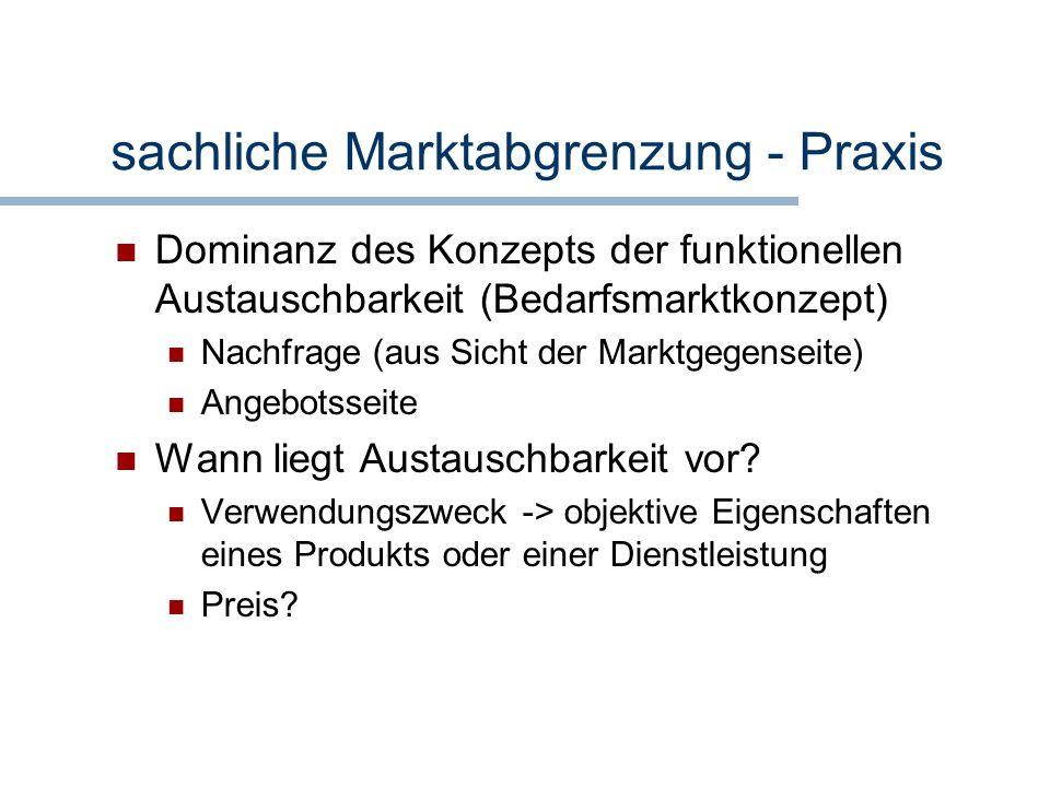sachliche Marktabgrenzung - Praxis Dominanz des Konzepts der funktionellen Austauschbarkeit (Bedarfsmarktkonzept) Nachfrage (aus Sicht der Marktgegens