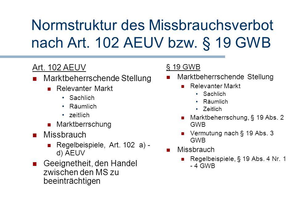 Normstruktur des Missbrauchsverbot nach Art. 102 AEUV bzw. § 19 GWB Art. 102 AEUV Marktbeherrschende Stellung Relevanter Markt Sachlich Räumlich zeitl