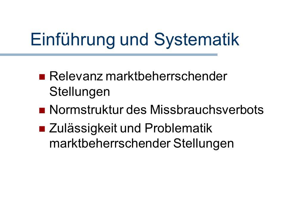 Einführung und Systematik Relevanz marktbeherrschender Stellungen Normstruktur des Missbrauchsverbots Zulässigkeit und Problematik marktbeherrschender