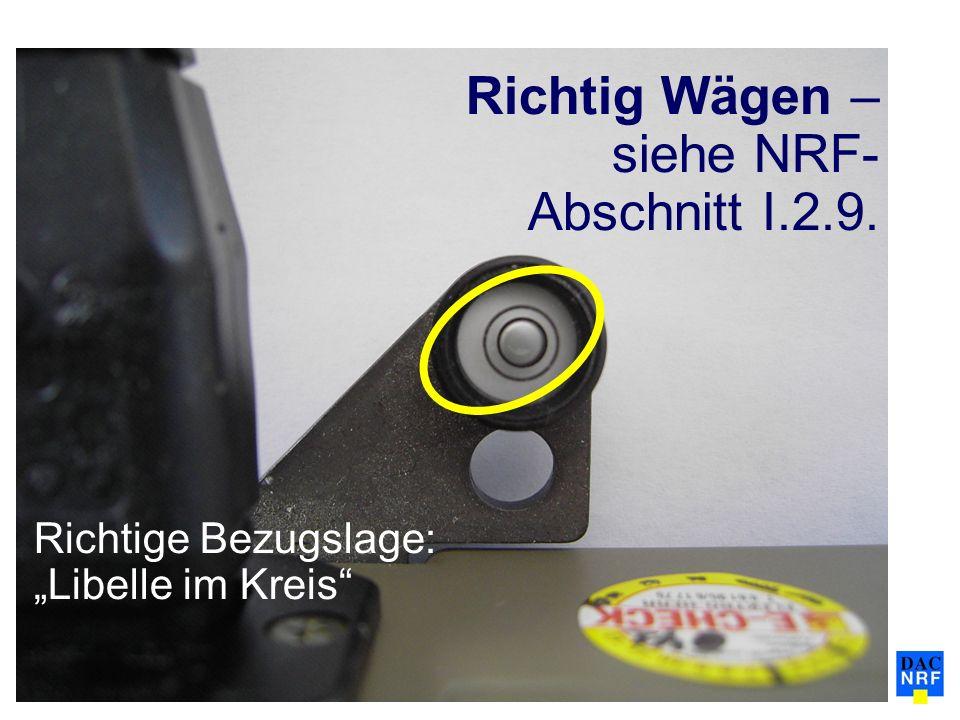 Richtige Bezugslage: Libelle im Kreis Richtig Wägen – siehe NRF- Abschnitt I.2.9.