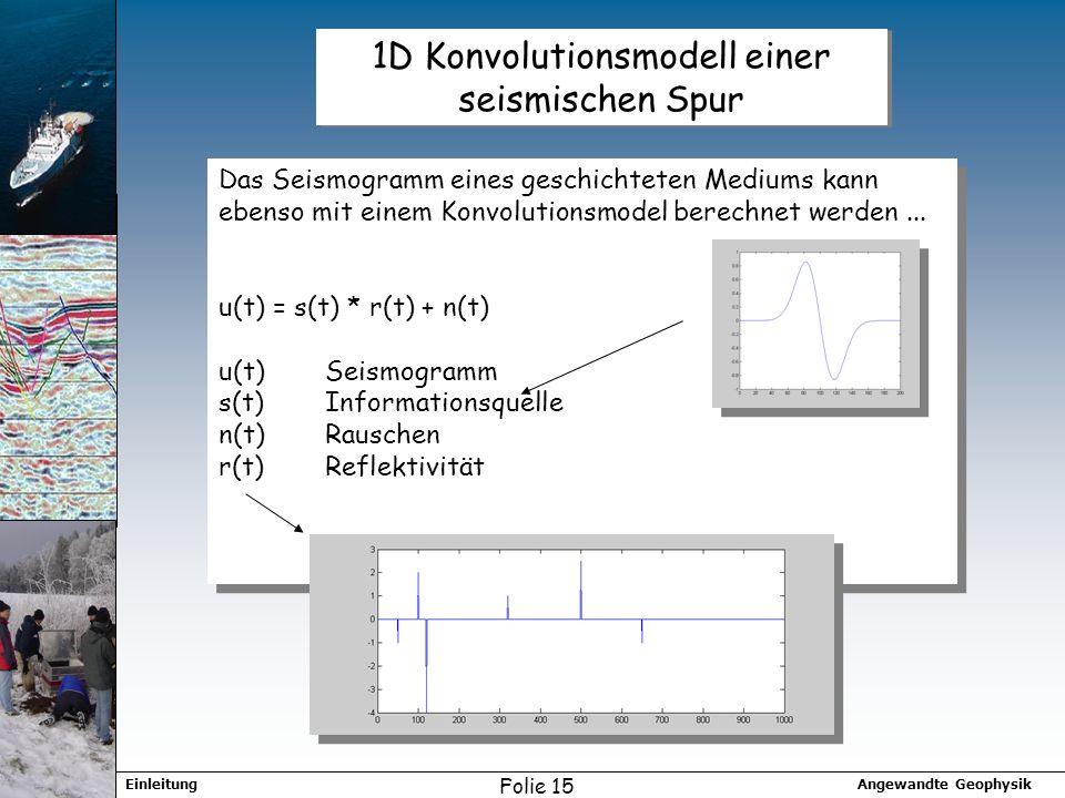 Angewandte GeophysikEinleitung Folie 15 1D Konvolutionsmodell einer seismischen Spur Das Seismogramm eines geschichteten Mediums kann ebenso mit einem Konvolutionsmodel berechnet werden...