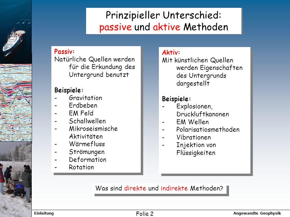 Angewandte GeophysikEinleitung Folie 2 Prinzipieller Unterschied: passive und aktive Methoden Aktiv: Mit künstlichen Quellen werden Eigenschaften des
