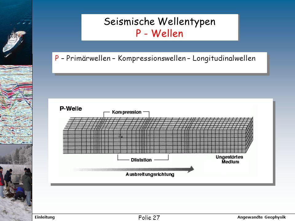 Angewandte GeophysikEinleitung Folie 27 Seismische Wellentypen P - Wellen P – Primärwellen – Kompressionswellen – Longitudinalwellen