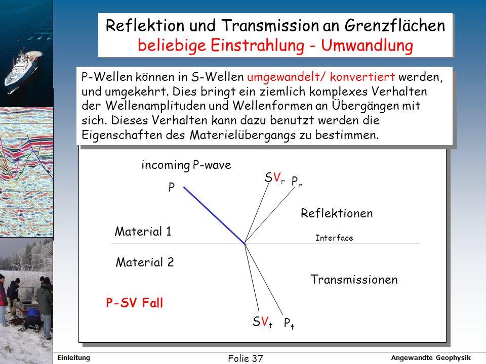 Angewandte GeophysikEinleitung Folie 37 Reflektion und Transmission an Grenzflächen beliebige Einstrahlung - Umwandlung P PrPr SVrSVr PtPt SVtSVt P-Wellen können in S-Wellen umgewandelt/ konvertiert werden, und umgekehrt.