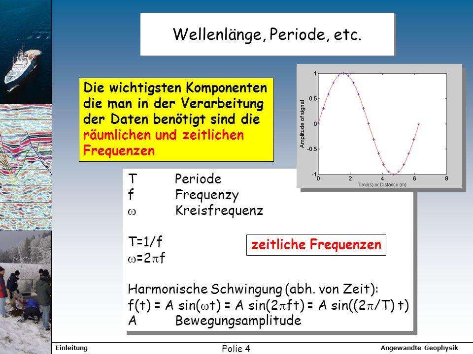 Angewandte GeophysikEinleitung Folie 4 Wellenlänge, Periode, etc. Die wichtigsten Komponenten die man in der Verarbeitung der Daten benötigt sind die