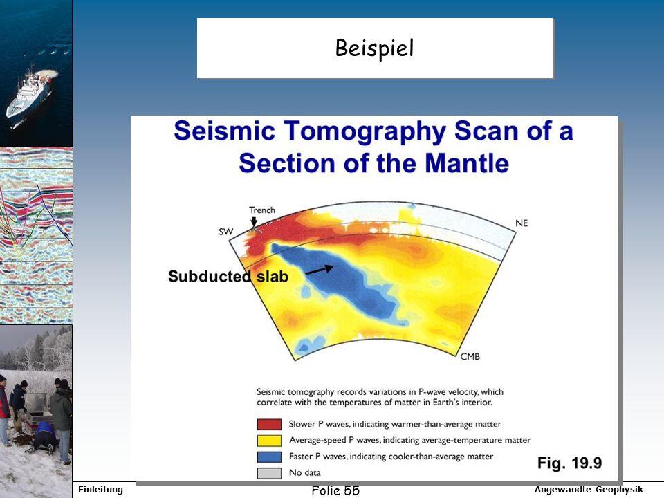 Angewandte GeophysikEinleitung Folie 55 Beispiel