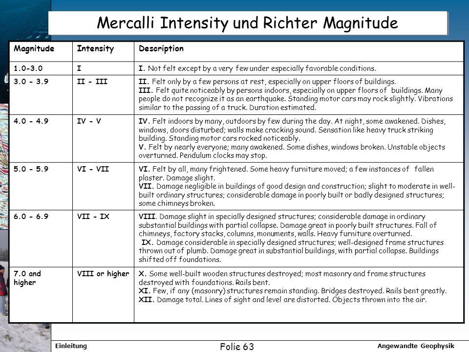 Angewandte GeophysikEinleitung Folie 63 Mercalli Intensity und Richter Magnitude MagnitudeIntensityDescription 1.0-3.0II. Not felt except by a very fe