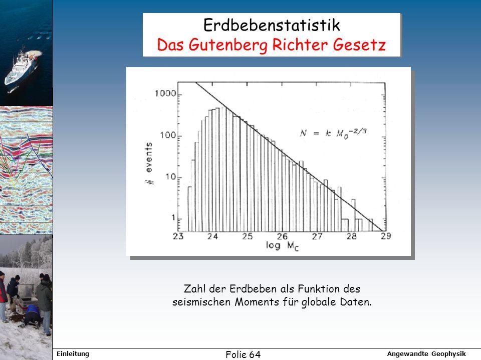 Angewandte GeophysikEinleitung Folie 64 Erdbebenstatistik Das Gutenberg Richter Gesetz Zahl der Erdbeben als Funktion des seismischen Moments für globale Daten.