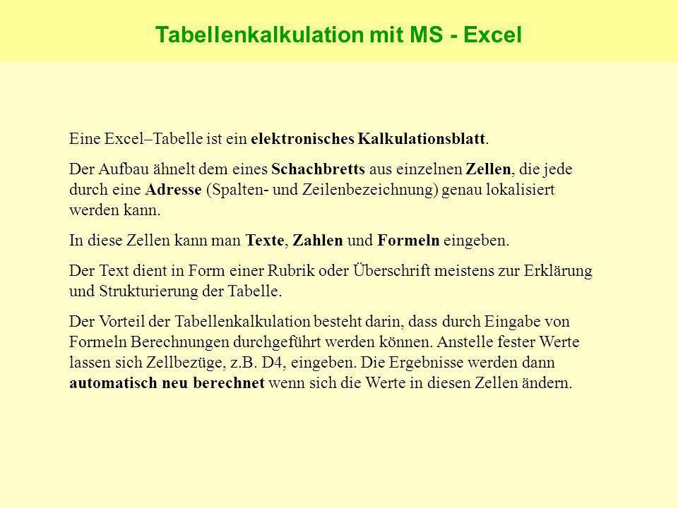 Tabellenkalkulation mit MS - Excel Eine Excel–Tabelle ist ein elektronisches Kalkulationsblatt.