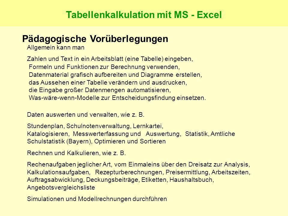 Tabellenkalkulation mit MS - Excel Pädagogische Vorüberlegungen Allgemein kann man Zahlen und Text in ein Arbeitsblatt (eine Tabelle) eingeben, Formeln und Funktionen zur Berechnung verwenden, Datenmaterial grafisch aufbereiten und Diagramme erstellen, das Aussehen einer Tabelle verändern und ausdrucken, die Eingabe großer Datenmengen automatisieren, Was-wäre-wenn-Modelle zur Entscheidungsfindung einsetzen.