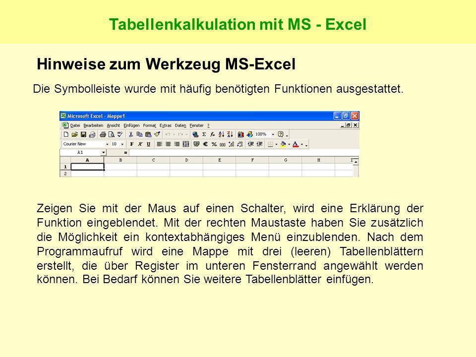 Tabellenkalkulation mit MS - Excel Hinweise zum Werkzeug MS-Excel Die Symbolleiste wurde mit häufig benötigten Funktionen ausgestattet.