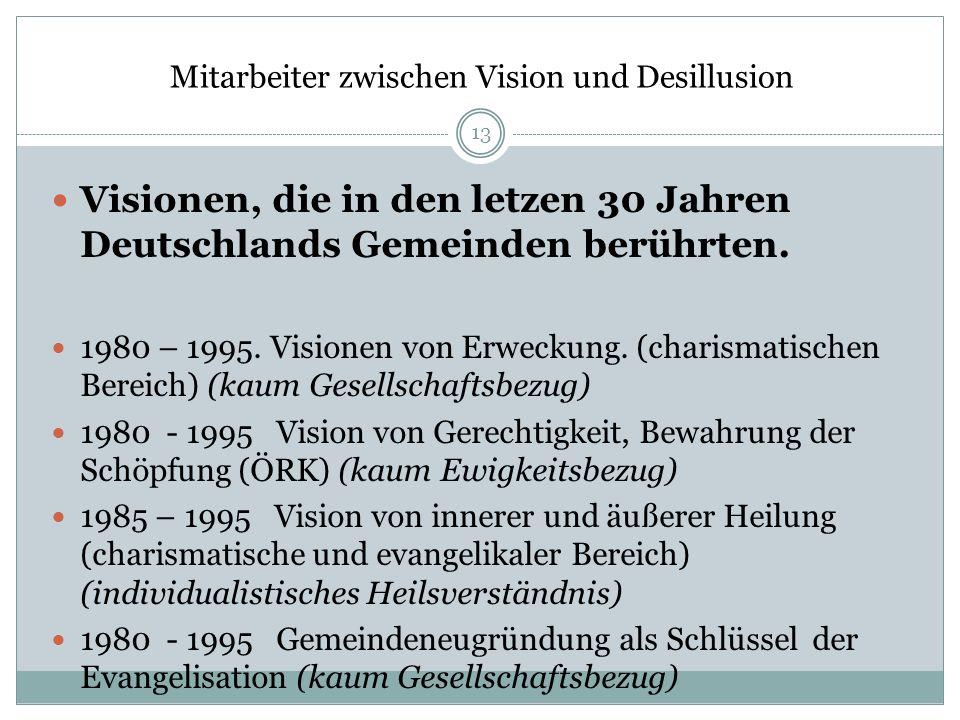 Mitarbeiter zwischen Vision und Desillusion Visionen, die in den letzen 30 Jahren Deutschlands Gemeinden berührten. 1980 – 1995. Visionen von Erweckun