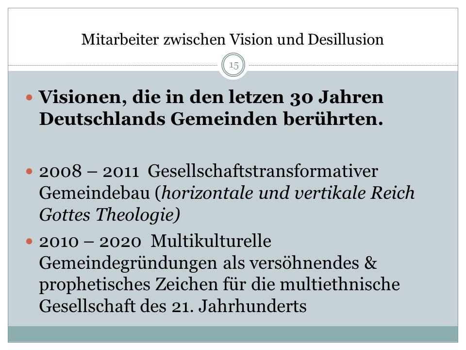 Mitarbeiter zwischen Vision und Desillusion Visionen, die in den letzen 30 Jahren Deutschlands Gemeinden berührten. 2008 – 2011 Gesellschaftstransform