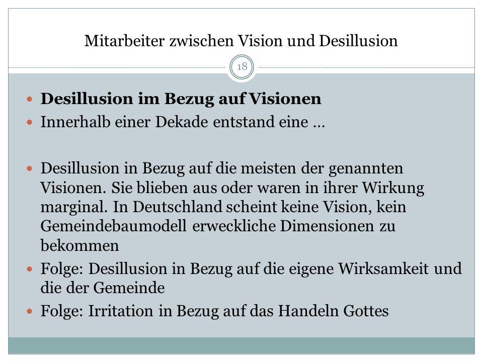 Mitarbeiter zwischen Vision und Desillusion Desillusion im Bezug auf Visionen Innerhalb einer Dekade entstand eine … Desillusion in Bezug auf die meis