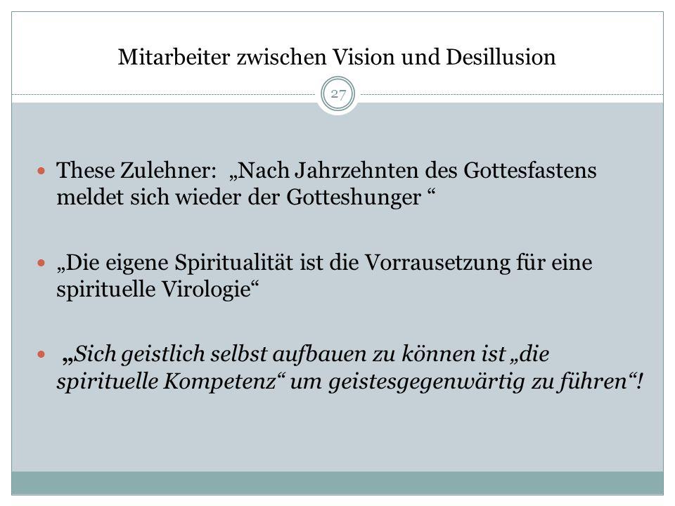 Mitarbeiter zwischen Vision und Desillusion These Zulehner: Nach Jahrzehnten des Gottesfastens meldet sich wieder der Gotteshunger Die eigene Spiritua