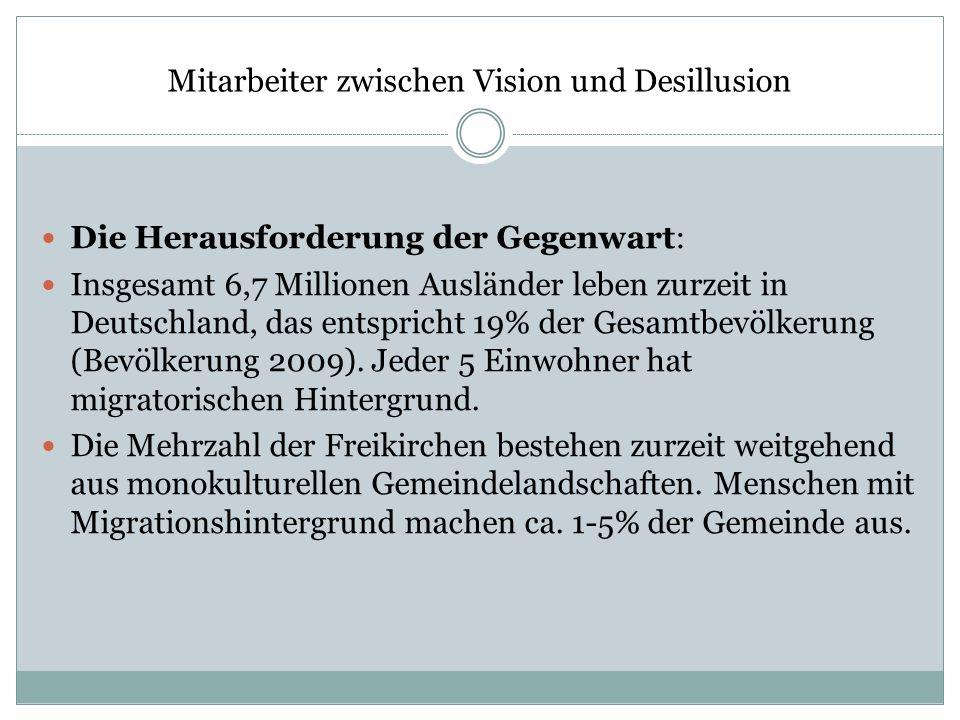 Mitarbeiter zwischen Vision und Desillusion Die Herausforderung der Gegenwart: Insgesamt 6,7 Millionen Ausländer leben zurzeit in Deutschland, das ent