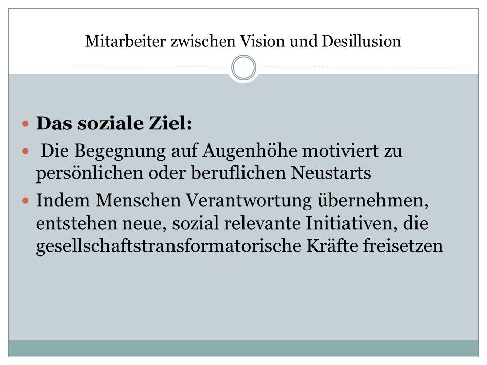 Mitarbeiter zwischen Vision und Desillusion Das soziale Ziel: Die Begegnung auf Augenhöhe motiviert zu persönlichen oder beruflichen Neustarts Indem M