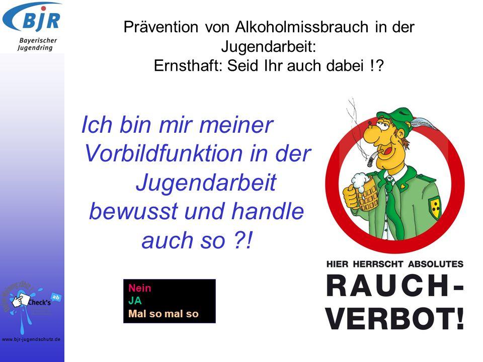 www.bjr-jugendschutz.de Prävention von Alkoholmissbrauch in der Jugendarbeit: Ernsthaft: Seid Ihr auch dabei !? Ich bin mir meiner Vorbildfunktion in