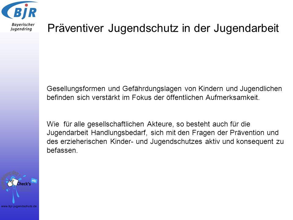 www.bjr-jugendschutz.de Die Jugendarbeit in Bayern ist bereits sehr erfolgreich im präventiven Jugendschutz tätig … … dies wurde im Sommer 2011 in einer Umfrage eindeutig bestätigt: Über 500 Projekte u.a.