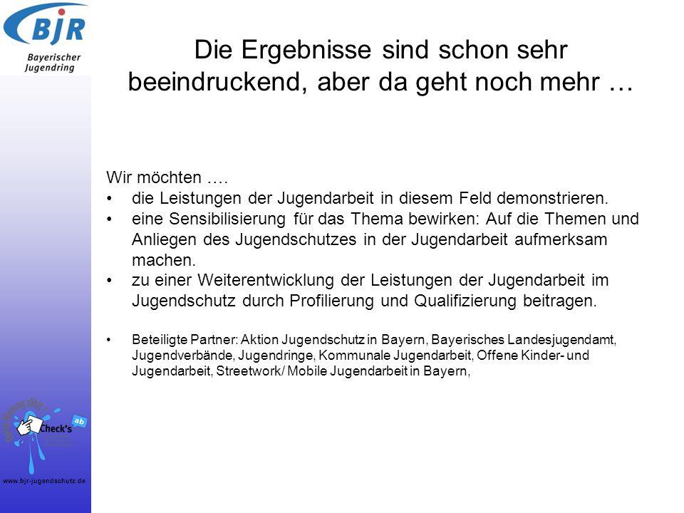 www.bjr-jugendschutz.de Die Ergebnisse sind schon sehr beeindruckend, aber da geht noch mehr … Wir möchten …. die Leistungen der Jugendarbeit in diese