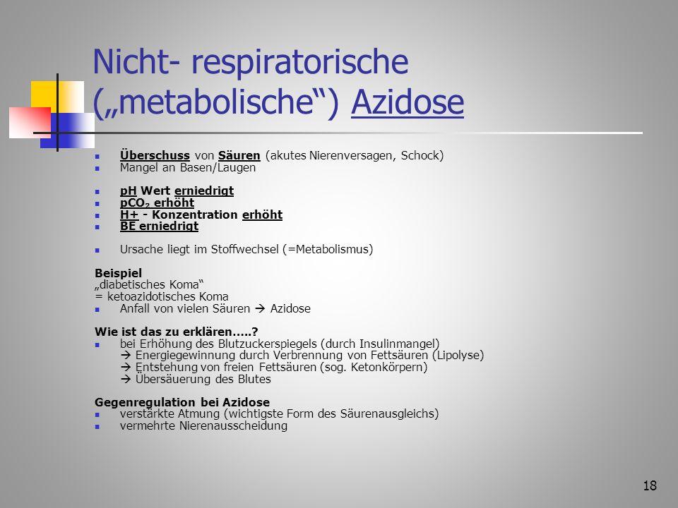 17 Respiratorische Alkalose Abatmung von CO 2 vermehrt (bei Hyperventilation) Mangel an Säuren im Blut pH- Wert erhöht H+ Ionenkonzentration erniedrig